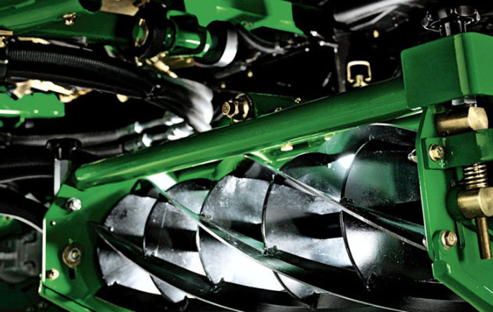 Photo of the underside of a professional mower for a golf course, rugby or football ground.